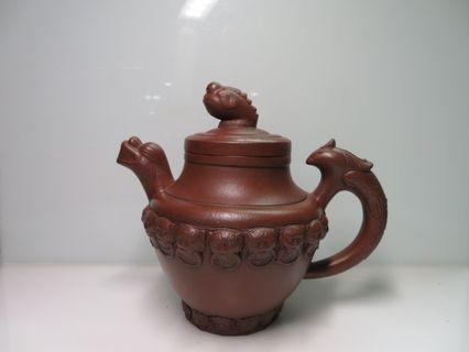 🚚 [老茗器]紫砂壺~早期紅紫砂 手刻魚龍壺 友蘭秘制 單孔出水 400cc