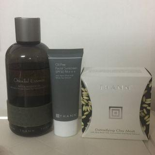 Thann detoxifying clay mask, massage oil & sunscreen