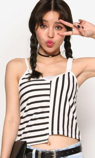 ulzzang uneven striped sleeveless top