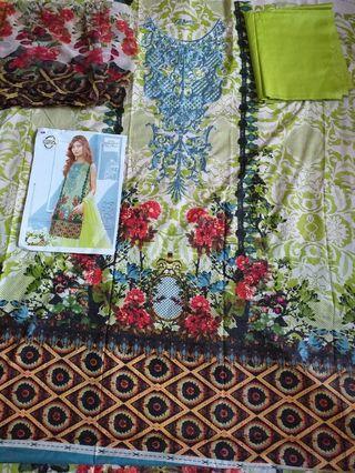 Pakistani summer lawn embroidered suits with chiffon dupatt