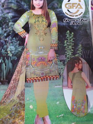 Pakistani summer lawn embroidered suit with chiffon dupatt