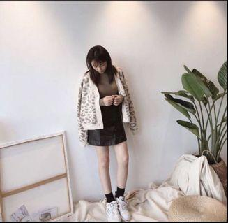 韓版豹紋毛衣外套