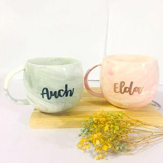 Customisable marble mugs calligraphy couple wedding birthday gift gifts Mug present presents farewell colleague colleagues cheap bulk teacher corporate mother mother's day cup cups Mug personalise personalised customise customised Friend graduation
