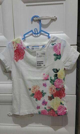 H&M Kids tee flower gliter NEW kaos anak branded original