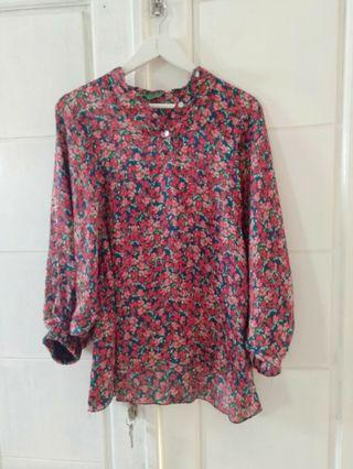 Blouse flower batwing