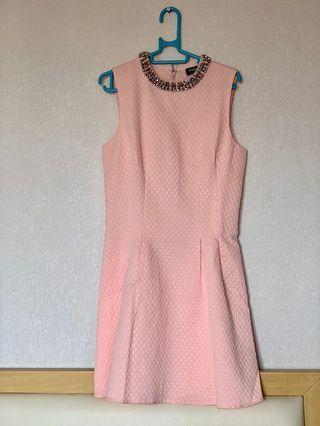 [99% New] Oasis 連身裙 粉紅色 傘擺裙 銀色珠領 斯文番工 英國品牌 Pink Skater Dress with Silver Stones details Smart Causal