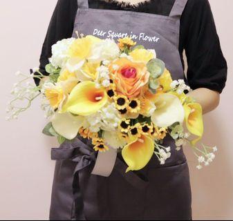 自然風 歐式 新娘花球 棒花 絲花花球 黃白色