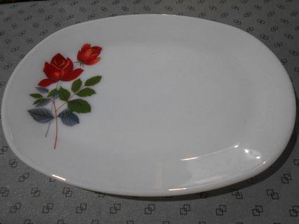 Vintage June Rose Large Oval Flat Plate