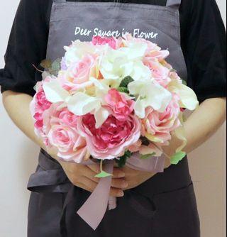 粉白色 日系 新娘花球 棒花 絲花花球