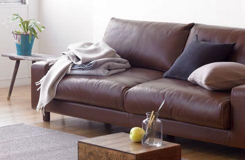 無印良品MUJI 皮革寬把羽絨獨立筒沙發組棕色3人座
