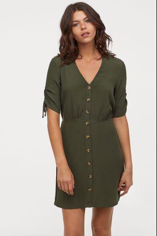 OshareGirl 04 瑞典單女士V領印花袖口抽繩綁帶造型連身裙洋裝