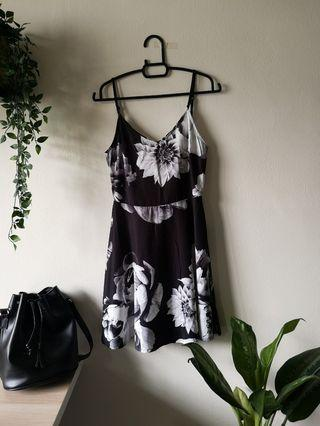 Black Floral Zalora Skater Dress