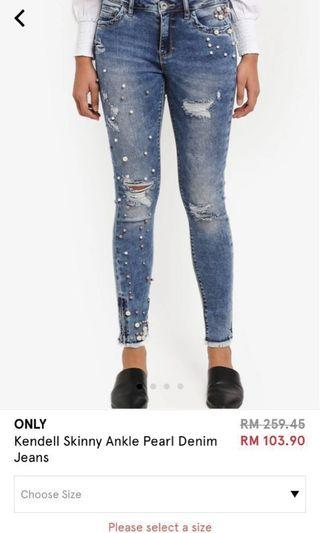 Only Kendell Skinny Ankle Pearl Denim Jeans
