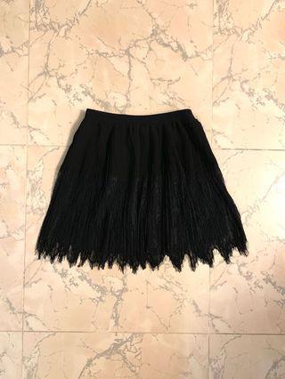 Forever21 black lace pleat skirt 黑色百褶喱士短裙