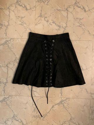 Black lace up skater flare skirt 黑色綁帶短裙