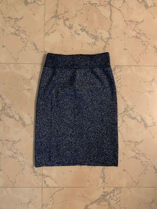 Navy blue glitter bodycon mini skirt 閃閃貼身短裙