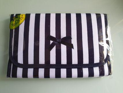 🚚 Naraya Cosmetic Pouch with mirror New blue stripes