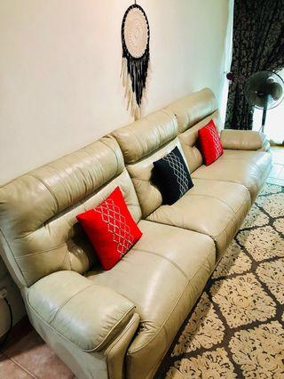Genuine leather 6 seater Sofa with 3 recliner