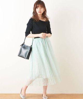日系靚喱士百摺裙 Japan fashion pleated lace skirt tulle skirt