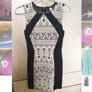 H&M 黑白花紋連身裙 H&M black & cream pattern casual/ work dress (100% New With Tag)