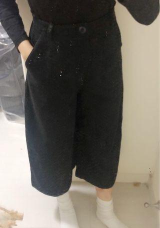 黑色七分闊腳褲