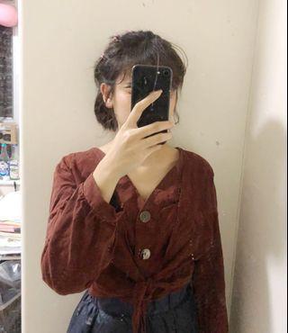 啡紅色復古top
