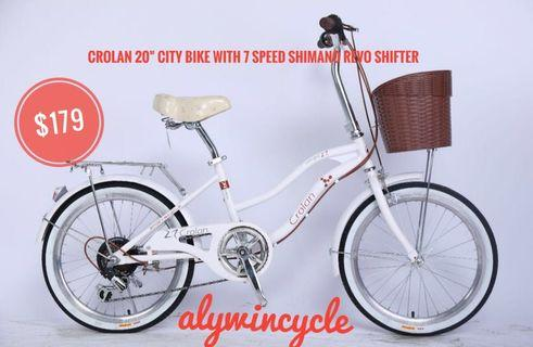 "4 color 20"" Crolan city bike 7 speed Shimano Revo shifter"
