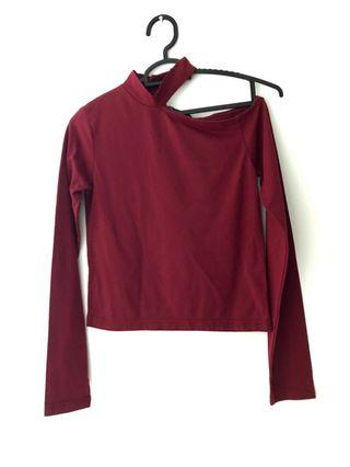 Maroon Choke off shoulder tops