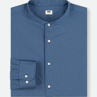 MEN Extra Fine Cotton Broadcloth Stand Collar Long Sl…