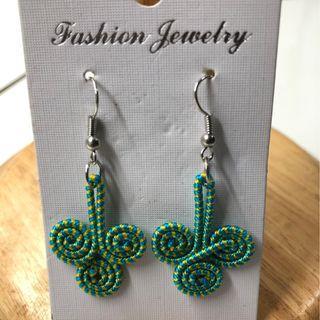 Green Coil Earrings