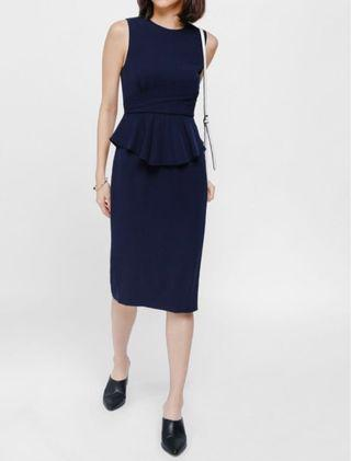 🚚 Love Bonito Yione Peplum Pleat Midi Dress in Navy