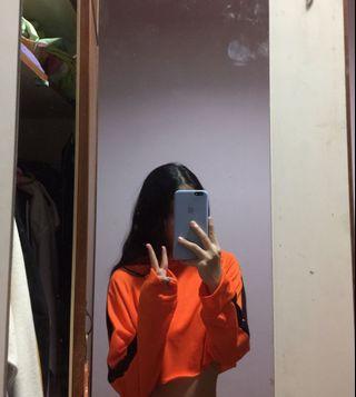 Orange striped crop hoodie #APR75
