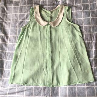 🚚 《二手》lativ 氣質白領青蘋果綠雪紡紗清透背心(L號) #半價衣服拍賣會