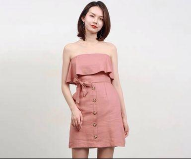 🌷(PO) Overlay of Sorts Button Linen Dress