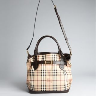 f907dadac306 BURBERRY CHOCOLATE AND HAYMARKET CHECK COATED CANVAS  GOLDERTON  BRIDLE TOTE  CHOCOLATE