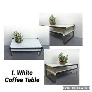 White Coffee Table with Stainless Steel Legs