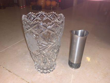 水晶花瓶+石刻筆筒 ($150)