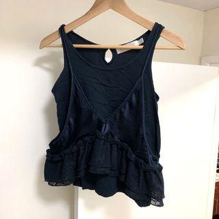 Lace ruffle detail Navy vest ♻️