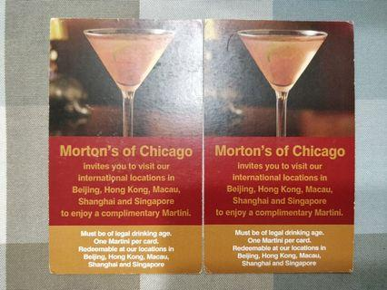 Morton's of Chicago complimentary Martini x2