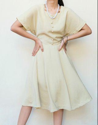 Vintage Yellow Midi Dress