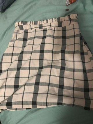 High waist check skirt