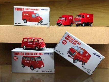 Tomica Limited Vintage Neo Tomytec 1/64 郵便車 Subaru Sambar, Honda TN-V及 Mazda K360