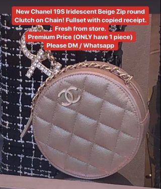 New Chanel 19S Iridescent Beige Zip round Clutch on Chain!