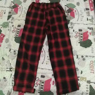 全新 紅色格子寬褲