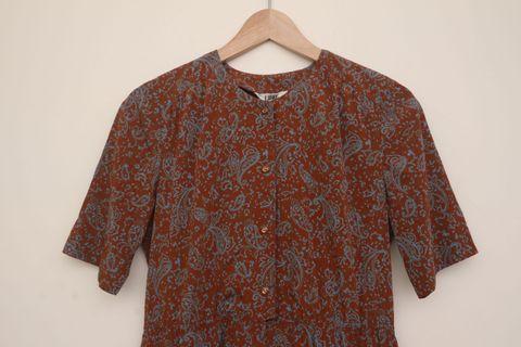 洋裝|橘土色 變形蟲 日本製 復古 花洋裝 Vintage 古著