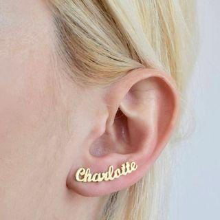 Personalized Custom Cursive Stainless Steel Name Earrings