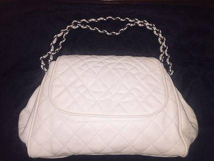 AUTHENTIC CHANEL CAVIAR QUILTED TIMELESS ACCORDION FLAP WHITE