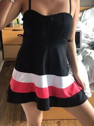 Coral white black dress