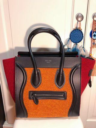 Celine Luggage Micro 真皮羊毛拼色