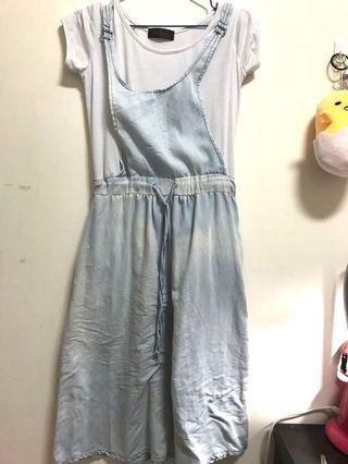 假兩件淺牛仔水洗吊帶長洋裝 #半價衣服拍賣會